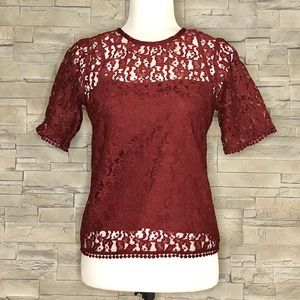 H&M burgundy lace top, NWOT